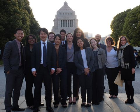 Goldman students in front of Nationa Diet building of Japan